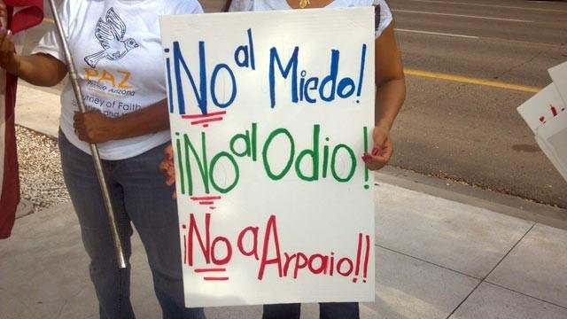 Protesters gather at Arpaio trial