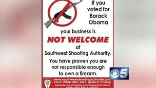 Gun store: Obama voters not welcome