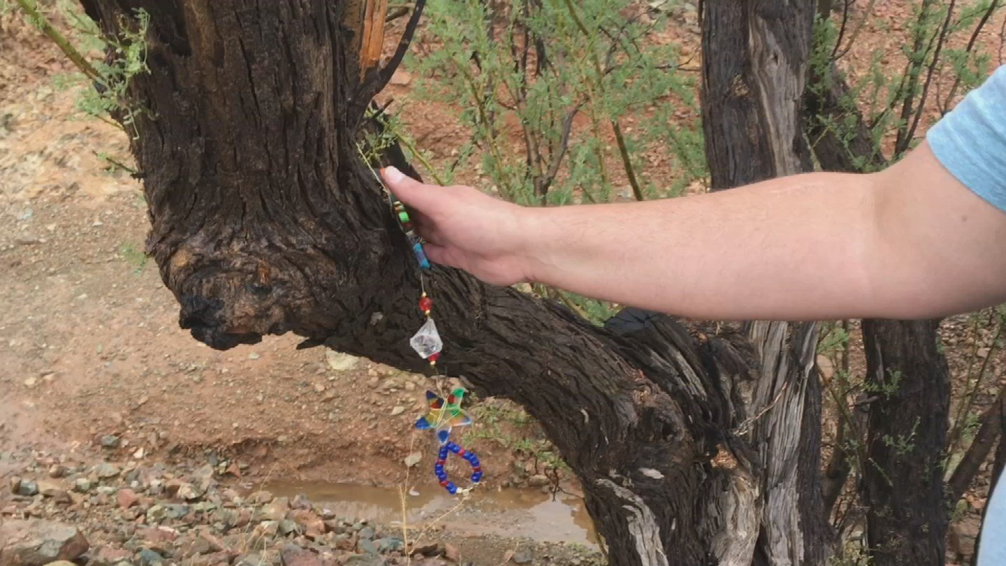 A charm marks the spot where Cody was last seen alive. (Source: CBS 5 News)
