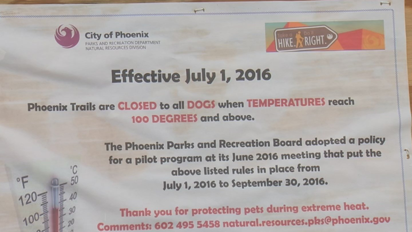 Signs are posted that animals aren't allowed on the trails when it's too hot. (Source: CBS 5 News)