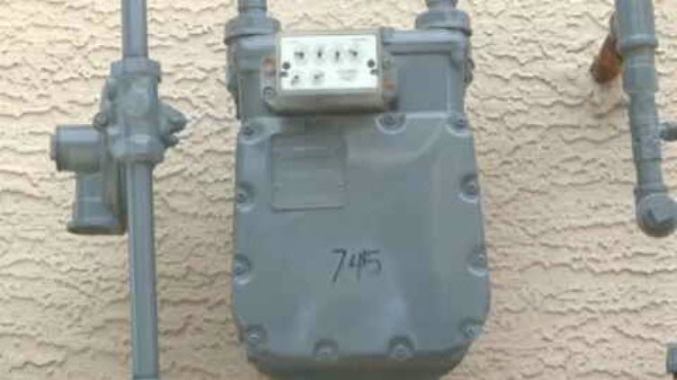 An oversized meter is one clue that you may have a second gas line. (Source: CBS 5 News)