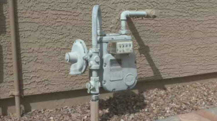 Regular meters with one gas line, like this one, are smaller. (Source: CBS 5 News)