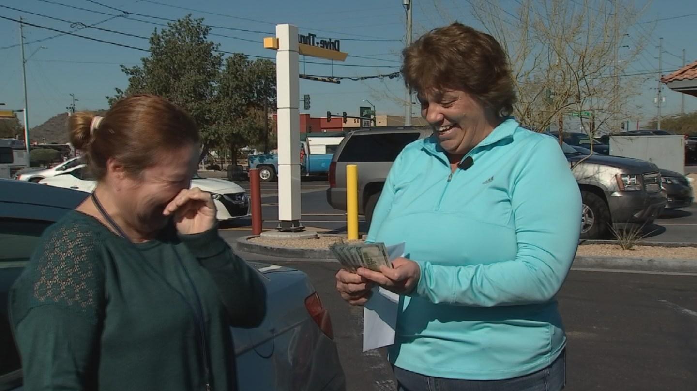 Christina Alfaro gets a surprise from Ann Owen. (Source: CBS 5)