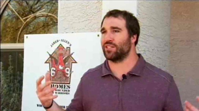 NFL star Jared Allen of the Vikings, created Homes 4 Wounded Warriors, a foundation that remodels homes to fit the needs of injured vets.