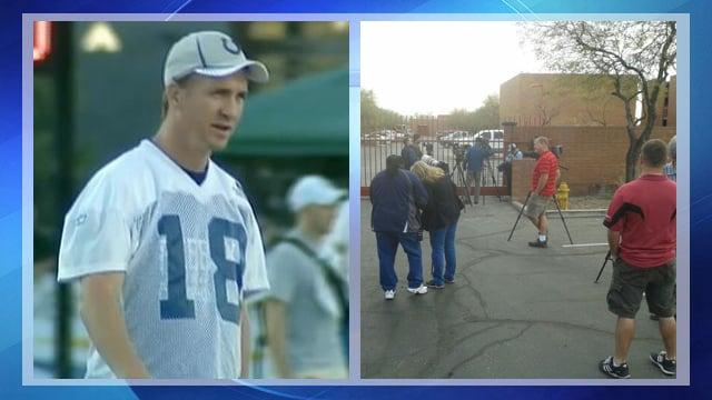 Peyton Manning (file photo), media gathered in Tempe