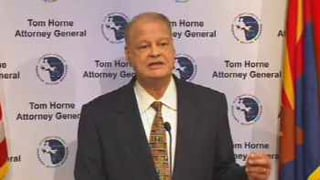 Tom Horne at Wednesday's news briefing
