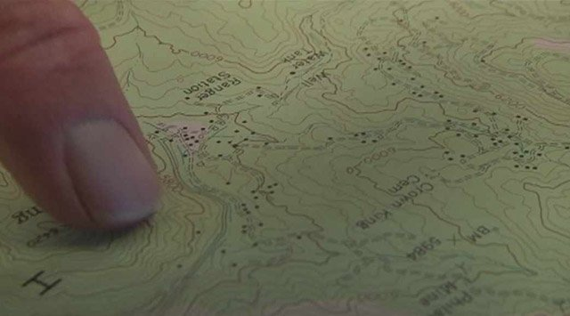 Each black dot represents an abandoned mine near Crown King.