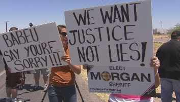 The rally outside Sheriff Babeu's office was organized by Immigrant Advocacy Foundation