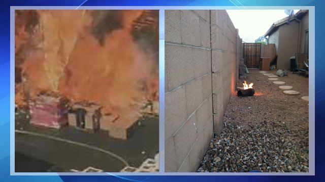 Flaming debris smacks into neighbor's house