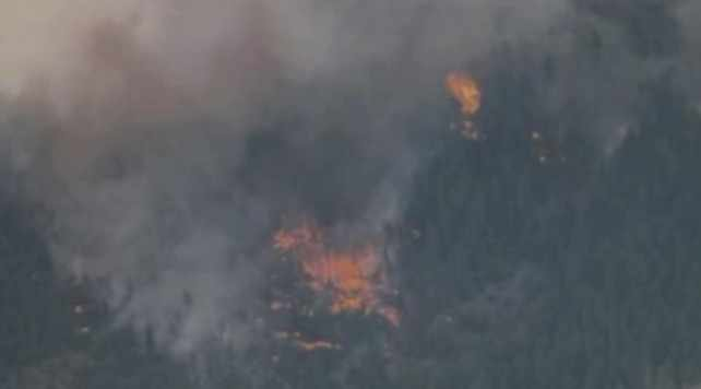 © CBS 5 News chopper images of the Poco Fire Thursday afternoon.