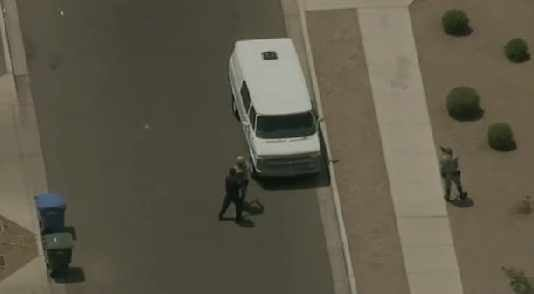  CBS 5 News helicopter captured these images in the 3300 block of W. Jessica Lane.