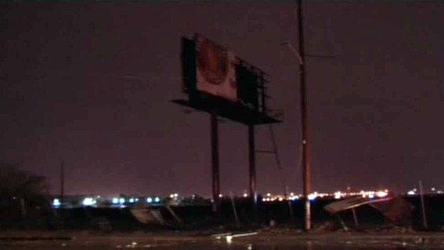 This billboard was struck by lightning and caught fire.