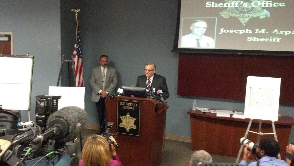 "Sheriff Joe Arpaio at the news conference he held Tuesday on his ""birther"" investigation."