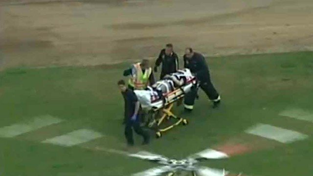 A 17-year-old boy is taken to a medical helicopter to be flown to a trauma center after a car-pedestrian accident near a north Phoenix high school Monday morning.