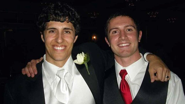 Ty Carlson, left, with friend Alex Teves, who was killed in the Colorado theater massacre.