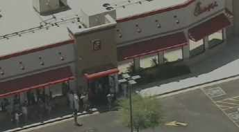 CBS 5 News helicopter flew over multiple Valley Chick-fil-A locations on Wednesday as supporters lined the restaurants.