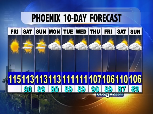 CBS 5 Meteorologist's 10 Day Forecast for Phoenix, as of Friday, Aug. 10.