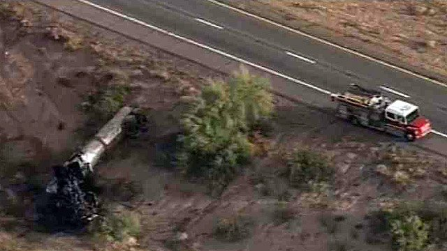DPS officials said the tanker was carrying liquid asphalt when it rolled just before 6 a.m. Thursday.