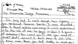 Elizabeth Johnson's letter to judge