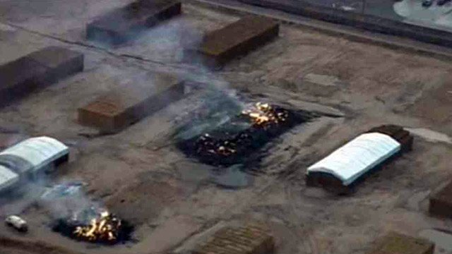 Two bales of hay burn after a lightning strike in Maricopa.