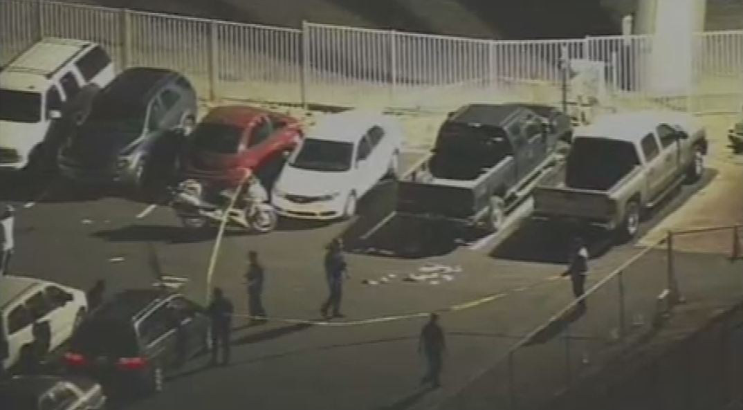 The scene in the parking lot after a shooting Aug. 17 during an Arizona Cardinals-Oakland Raiders preseason football game.