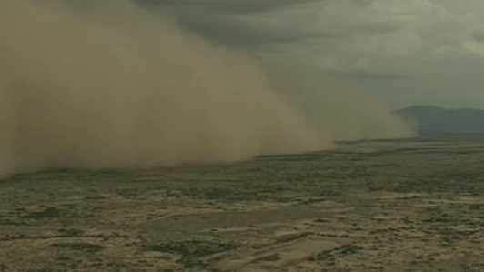 CBS 5 News helicopter over the dust storm in the Sun Lakes area.