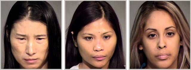 Lan Wang, left, Estephany Quijano Kubinski and Diana Huerta were arrested in connection with a prostitution sting at a Phoenix massage business.