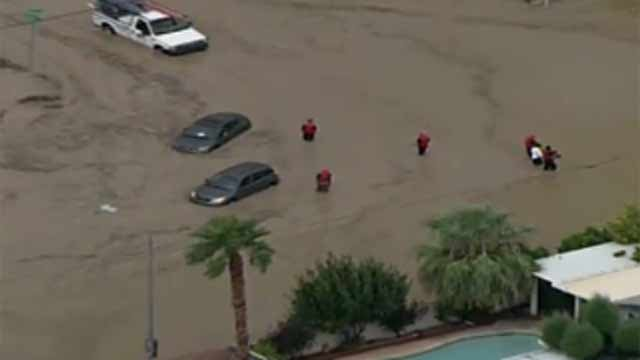 Stranded motorists in Vegas flooding