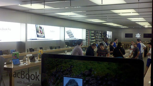 (Photo: Troy Conhain / CBS 5 News) Workers prepared the Apple store at Arrowhead Mall in anticipation for the rush for an iPhone 5.