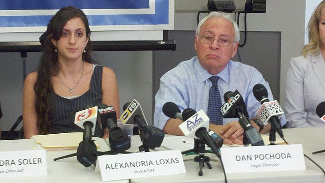 © (Photo: CBS 5 News) The ACLU filed a wrongful death lawsuit against the city of Scottsdale and its police department on behalf of Alexanderia Loxas, left, whose father, John Loxas, Jr., was shot and killed by Officer James Peters on Feb. 14.