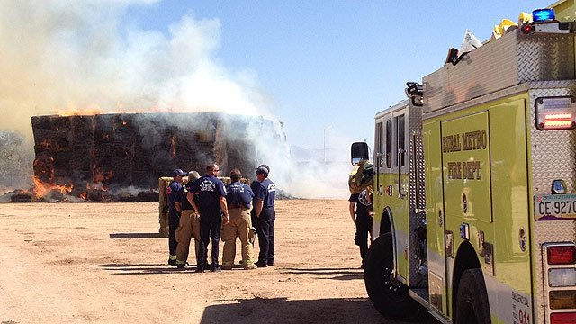 (Photo: Rural/Metro Fire) The fire started Monday in a haystack just north of Phoenix-Mesa Gateway Airport near Warner Road.