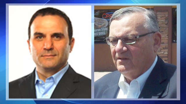 Paul Penzone, left, and Maricopa County Sheriff Joe Arpaio