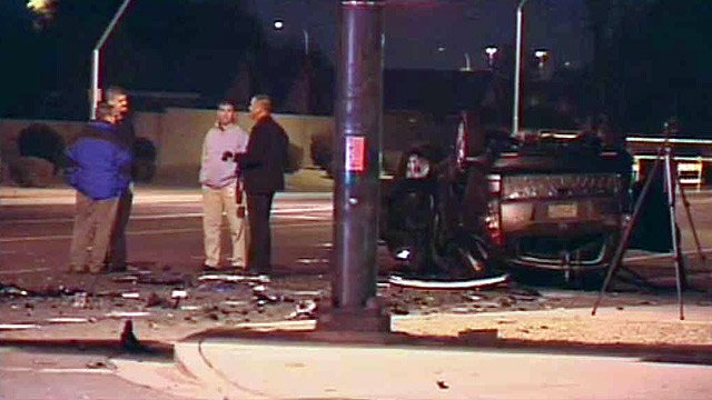 (Photo: CBS 5 News) One person was seriously injured in a fiery two-car collision Monday night in far west Phoenix.