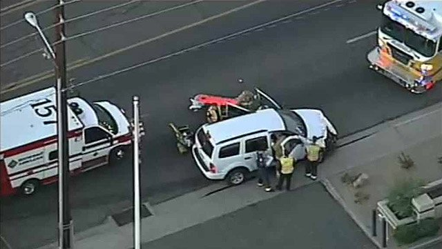 (Source: CBS 5 News) One person was hospitalized and five other suffered minor injuries in a one-vehicle roll-over in Glendale early Monday morning.