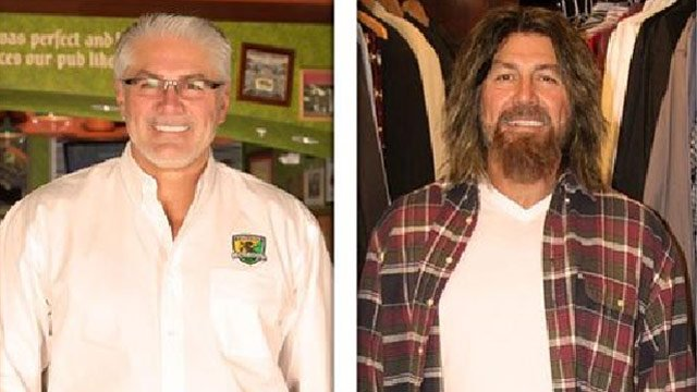 (Source: CBS) Ron Lynch, CEO of the Phoenix-based Tilted Kilt franchise, dons a kilt, mullet and long beard for an appearance Friday on the CBS series Undercover Boss.