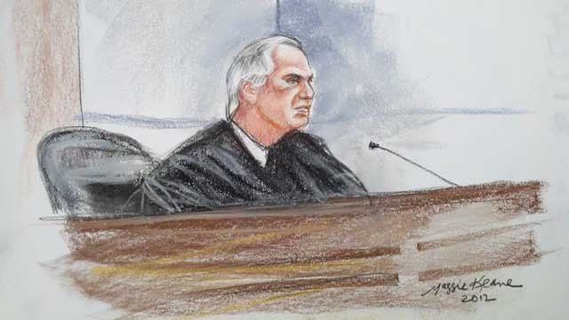 Sketch of judge in Tucson federal court at Jared Loughner's sentencing.