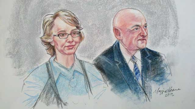 Sketches of Gabrielle Giffords and Mark Kelly in Tucson federal court at Loughner's sentencing.