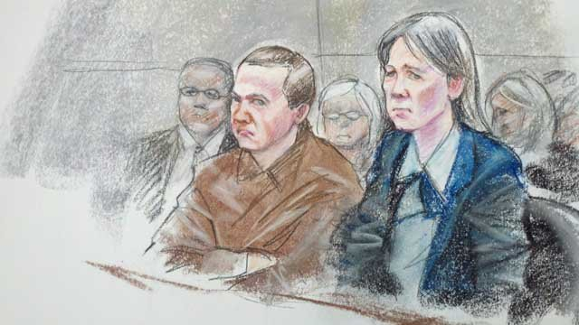 Sketch in Tucson federal court at Jared Loughner's sentencing.