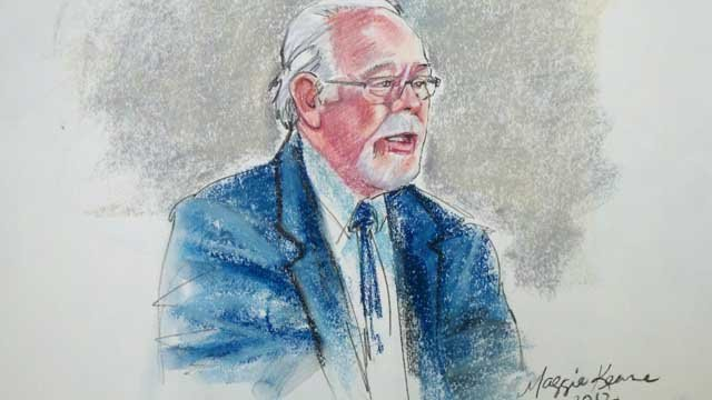 Sketch of Ron Barber at Loughner's sentencing in Tucson federal court on Thursday.