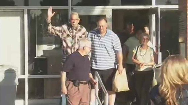 (Source: CBS 5 News) Bill Macumber waves to well-wishers.