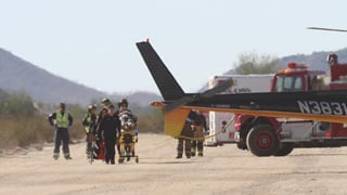(Source: Howard Waggner/News of Maricopa) The pilot was airlifted to a Phoenix-area hospital.