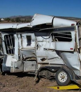 (Source: Yavapai County Sheriff's Office)  Two-stall horse trailer destroyed
