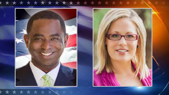 (Source: CBS 5 News) Democrat Kyrsten Sinema, right, has seen her lead over Republican Vernon Parker in the Phoenix-area's 9th District seat widen to more than 5,700 votes.