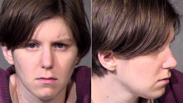 (Source: Maricopa County Sheriff's Office)  Holly Solomon was arrested on charges of domestic violence and aggravated assault charges after she allegedly ran down her 36-year-old husband in a parking lot after an argument over politics.