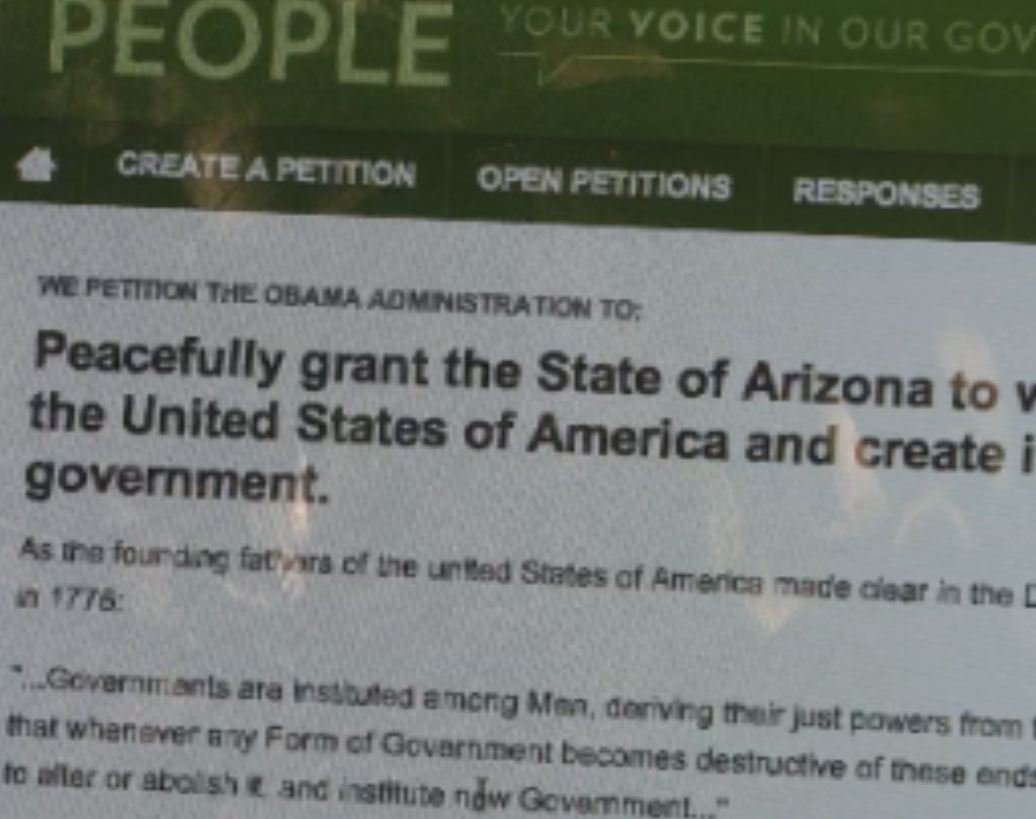 More than 16,000 people have signed an online petition asking the US Government to allow AZ to secede.