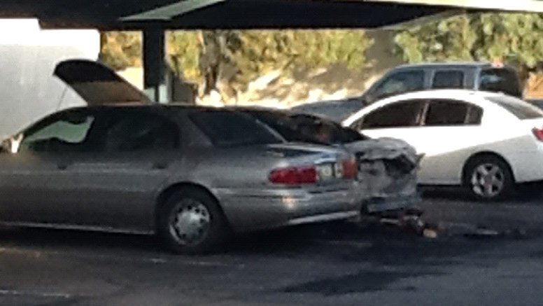 (Source: Jose Miguel / CBS 5 News) Five cars were set on fire at a Mesa apartment complex Tuesday night.