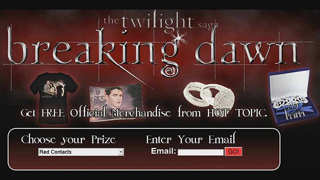 Teens who are fans of the Twilight series of movies are targeted by this page.