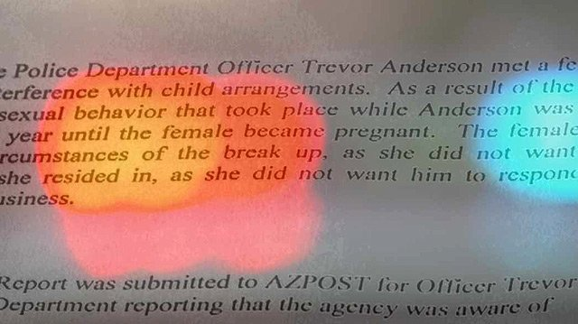 "(Source: CBS 5 News) An AZ POST report says Officer Trevor Anderson and ""Ms. L"" began a sexual relationship for more than a year, and ""Ms. L"" became pregnant."