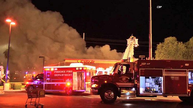 (Source: Chad Black for CBS 5 News) A Carl's Jr. restaurant undergoing some renovations was badly damaged by fire early Wednesday morning.