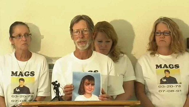 (Source: CBS 5 News) Patty Hancock, left, and Richard Hancock address the media with other members of their family after Richard Stokley was executed Wednesday. Their daughter, Mandy Meyers, was killed in 1991.